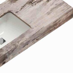Stenshoppen.dk | Bordplade til bad. Silestone© med underlimet porcelænsvask. Ligekant 1,2cm. H-Line collection.