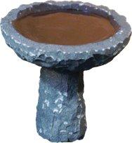 Stenshoppen.dk | Rund fuglebad Ø 35 cm. på sokkel, samlet højde 30 cm. poleret indvendig, kløvet udvendig. Mørk/sort granit.