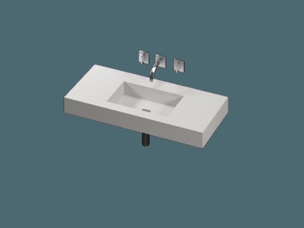 Stenshoppen.dk | Håndvask til bad. Silestone© Hvid Elegance 12,5cm geringskant poleret
